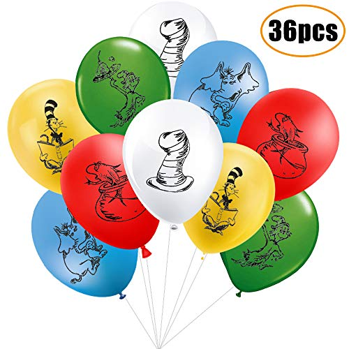 Dr Seuss Party Supplies Balloons Decorations - Cat in The Hat Balloons for Kids Birthday Party -