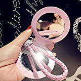 YChoice Cute Baby Toy Mini Round Shape Double-Side Cosmetic Mirror Small Glass Mirrors Crafts Decoration Pink