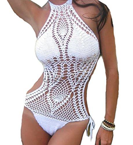 Eternatastic Women Crochet Knit Monokini Swimsuit Lined One-piece Bikini Swimwear M White (Field Of Dreams Crochet Trim One Piece Swimsuit)