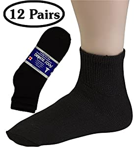 Diabetic Socks For Men By Debra Weitzner - Crew or Ankle Length - Breathable Cotton - Loose Fitting Design, Comfortable, Physician Approved - Non Binding Top - Black, White or Grey - Pack of 12 Pairs