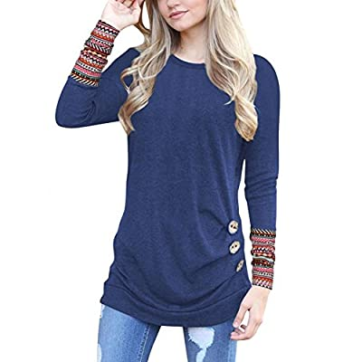 Woaills Women's Button Trim Blouse, Long Sleeve Loose Patchwork Round Neck Tunic T-Shirt