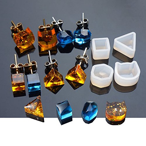 Yalulu 8Pcs Assorted DIY Earrings Silicone Mold Jewelry Pendant Bracelet Resin Casting Mould for DIY Craft Making