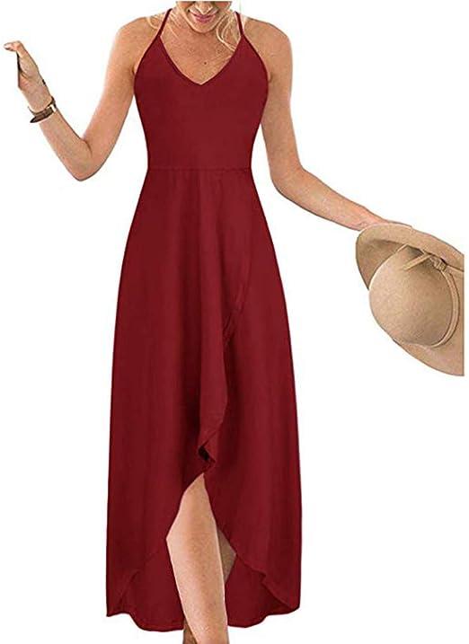 FOTBIMK sukienka damska, na lato, lato, seksowna, bez ramiączek, jednokolorowa, długa sukienka: Odzież
