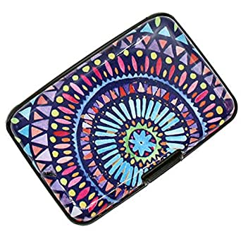 RFID Blocking Credit Card Holder Case Protector Wallet Hard Slim Travel Purse for Women with 6 Slots Portable Wallet (Boho Purple, Small)