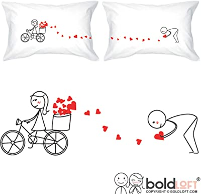 BoldLoft All My Love for You Couples Pillowcases- Boyfriend Gifts, Husband Gifts, for Him, Valentines Presents, His and Hers Gifts, Gifts for Couples, Matching Couple Gifts