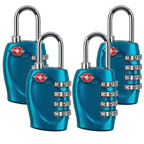 - 4 Dial Digit TSA Approved Travel Luggage Locks Combination for Suitcases (Blue-4pack)