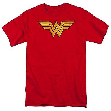 4a03604d Amazon.com: A&E Designs WONDER WOMAN LOGO Adult Red T-shirt Tee ...