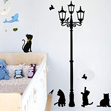 Logbeing Stickers Gatos Calle Lámpara Luces Pegatinas Tatuajes de Pared Extraíble Arte Vinilo Decoración Pared de Pegatinas (Negro): Amazon.es: Bricolaje y ...