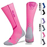 Compression Socks for Men & Women by Thirty48 | 15-22 mmHg | Improves Blood Circulation | Great For Sports, Running, Nurses, Maternity & Airplane Travel | Pink/Gray | Small