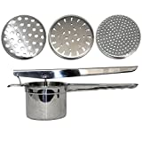 CHEFHUB Potato Ricer Fruit and Vegetables Masher, Makes Light and Fluffy Mashed Potato Perfection with 3 Pieces Replaceable Strainer for Coarse & Fine Ricing 100% Stainless Steel