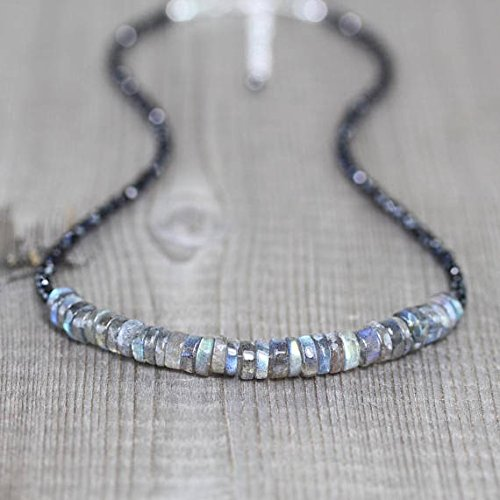 JP_Beads Labradorite & Black Spinel Beaded Necklace. Sterling Silver, Rose Or Gold Filled Filled Filled. Flashy Blue Gemstone Choker. Boho Hippie Layering Necklace 3mm 16