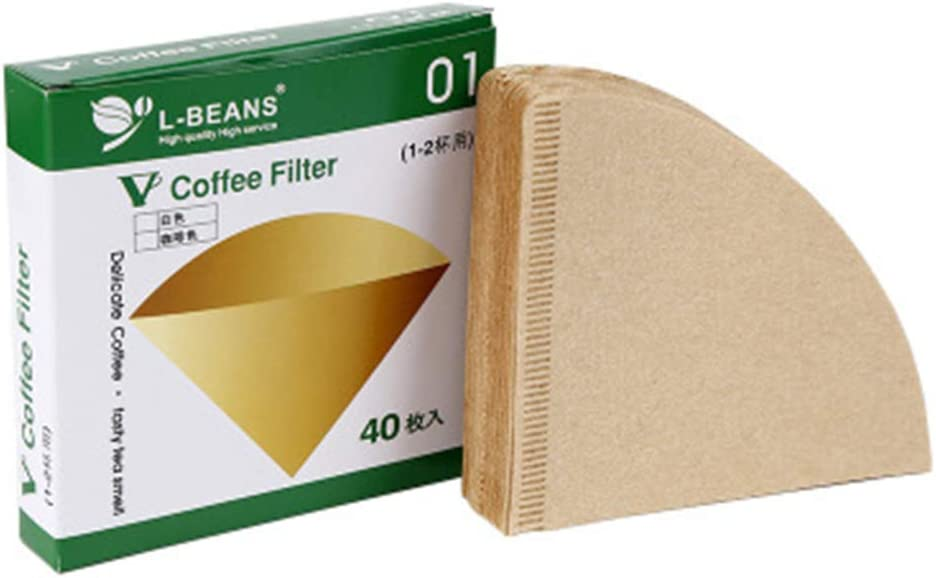 Arichtop 40pcs//box Drip Coffee Cup Unbleached Coffee Filter Papers,Disposable Coffee Papers Cone-Shape Filter Papers Disposable Paper Coffee Filters