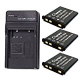 Casio Exilim EX-Z35 Battery (3-Pack) & Charger Set for Casio NP-80, NP-82 Digital Camera Battery & Charger Kit (1200mAh, 3.7V, Li-Ion)