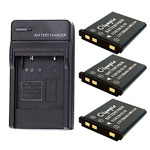 Casio Exilim EX-Z550 Battery (3-Pack) & Charger Set for Casio NP-80, NP-82 Digital Camera Battery & Charger Kit (1200mAh, 3.7V, Li-Ion)