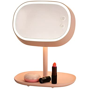 AccMart Lighted Makeup Vanity Mirror with Table Lamp for Bedroom Home Decor Pink