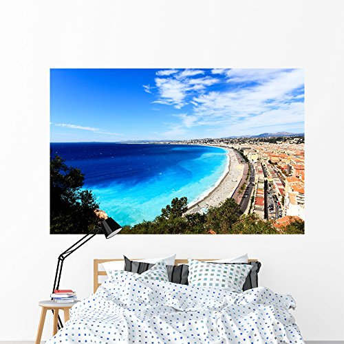 Wallmonkeys Aerial Beach Nice Wall Mural Peel and Stick Graphic (72 in W x 47 in H) WM320415