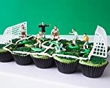 Soccer Team Cupcake Display Kit - (7) Soccer Player Toppers, Goalies, Soccer Ball, Referee, (2) Nets, (3.2 oz) Green Sprinkle Jimmies, (30) Black Cupcake Liners World Cup Germany Brazil Spain