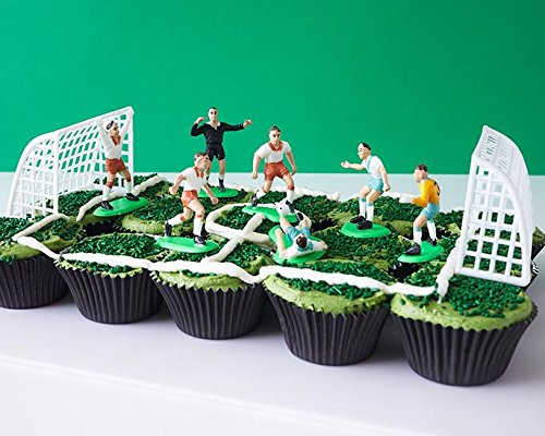 Soccer Team Cupcake Display Kit - (7) Soccer Player Toppers, Goalies, Soccer Ball, Referee, (2) Nets, (3.2 oz) Green Sprinkle Jimmies, (30) Black Cupcake Liners World Cup Germany Brazil Spain by Cakegirls