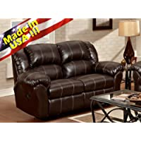 Roundhill Furniture Brandan Bonded Leather Dual Reclining Loveseat, Brown