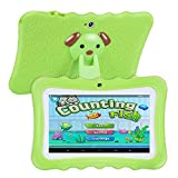 TOOGOO(R) Upgrade Best Tablet for Kids, 7inch HD Display with Kid-proof Silicone Case (Quad Core, 8GB, Wifi & bluetooth, Front & Rear Camera, Playstore, Youtube, Google Android 4.4, IWAWA) (Green)