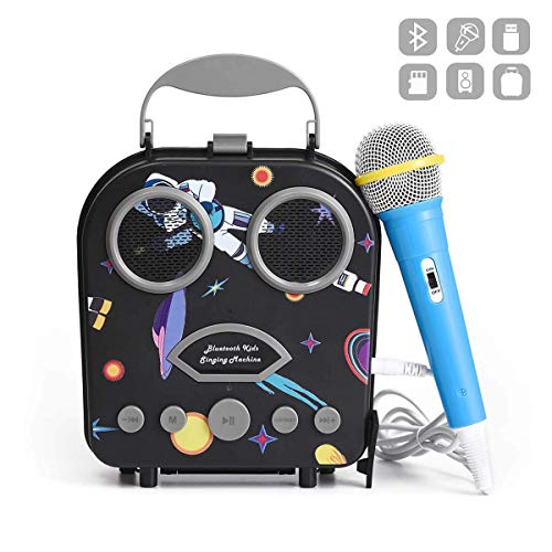 Kids Karaoke Machine with Microphone, Bluetooth Rechargeable Kids Handbag Karaoke Music Player Toy Children MP3 Player Loudspeaker with Microphone (Handbag Black) (Kids Karaoke Mp3)