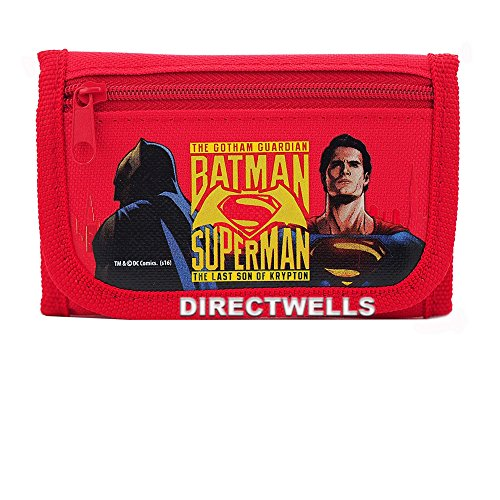 Batman vs Superman Dawn Justice Authentic Licensed Children Trifold Wallet (Red)
