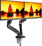ONKRON Dual Monitor Mount Full Motion Monitor Desk Mount Stand for 2 Computer Monitors 13'' - 27 Inch LED LCD Flat Panel TVs up to 14.3 lbs Fully Adjustable Mounting Arm with Gas Spring - G160 Black