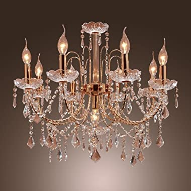 LightInTheBox Elegant Candle Style Crystal Chandelier with 9 Lights Pendent Light Ceiling Light Fixture for Living Room Gold Color Bulb Not Included