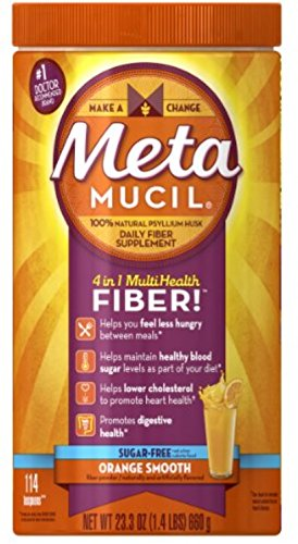 Metamucil Smooth Sugar Free Powder, 114 Teaspoons, Orange 23.3 oz (Pack of 6) by Metamucil