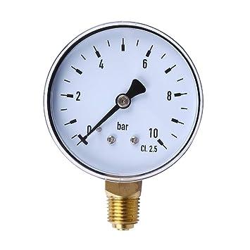 """Hemobllo 1/4""""0-10 Bar NPT Lado compresor de Aire hidráulico indicador"""