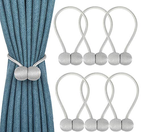 Topspeeder 6 Pack Magnetic Curtain Tie Backs,Drape Tie Backs,The Most Convenient Curtain Rope Hold Back Holder,Simple Modern Woven Texture Rope for Thin or Small Window Drapries,12 Inch(Silver Grey) (Tie Back Hardware)