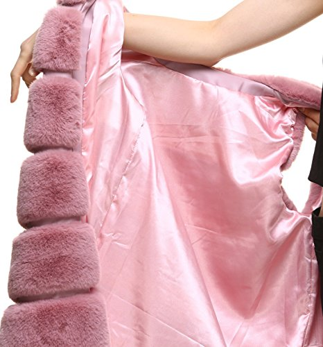 Long Vests Women' Fur Faux Pink vogueearth Warm Autumn Winter Gilets Classic 07nnTxw8