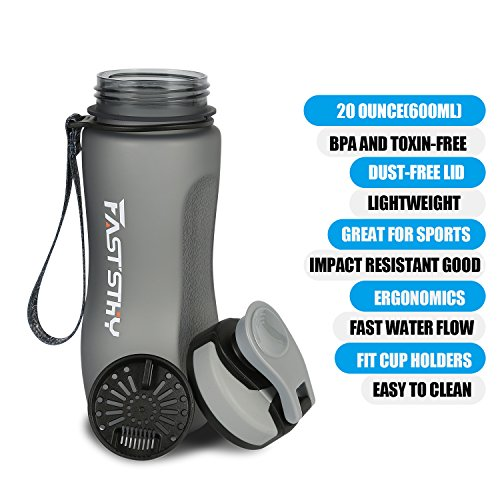 FASTSTHY Water Bottle by 20oz/0.6L Drinking Bottle -BPA Free Flip Top Leak Proof Lid For Outdoor & Gym Sport (Black)