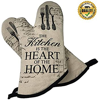 Cestbin Cute Kitchen Oven Mitts,Cotton Long Microwave Oven Glove, Extreme Heat Resistant 500 Degrees Gloves for Pot Holders Cooking,Food,Frying, Baking Premium Durable Mitts-1 Pair (White, Oven Mitts)