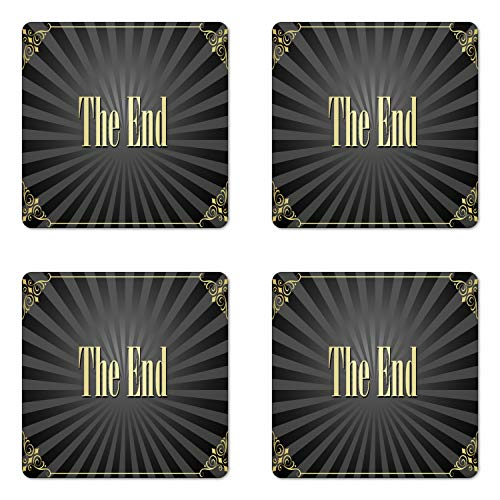 Ambesonne Old Hollywood Coaster Set of Four, Movie Ending Screen with Vintage Video Frame The End Text, Square Hardboard Gloss Coasters for Drinks, Charcoal Grey Black and -
