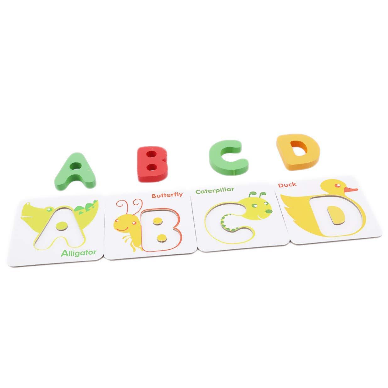 Fliyeong Premium Baby Vorschule Englisch Lernen Alphabet Karten Kognitive Spielzeug Tier Puzzle Fr/üherziehung Spielzeug