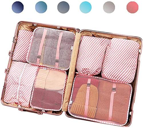 PACTIVE Packing Cubes for Travel, 6/7/8/9 Set Luggage Organizer (7 Pink Striped) best packing cubes