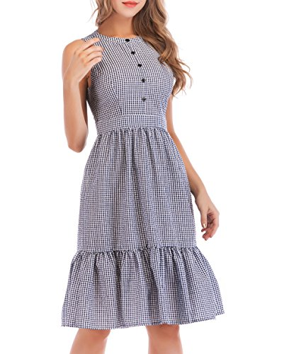 SUNNOW Women's Vintage Summer Fit and Flare Button up Gingham A-Line Swing Midi Dress (L(US12-14), (Check Tiered Dress)