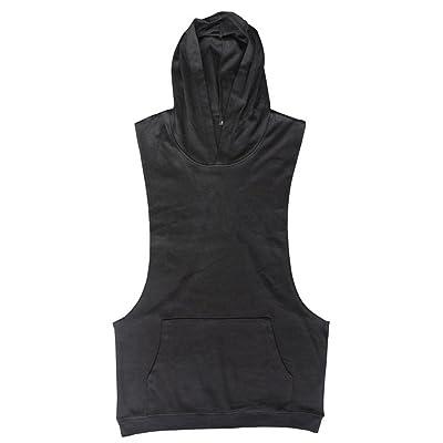 GITVIENAR Men's Summer Bodybuilding Gym Hooded Tank Top Fitness Sleeveless Muscle Slimming Cotton Breathable Sports Vest T Shirt