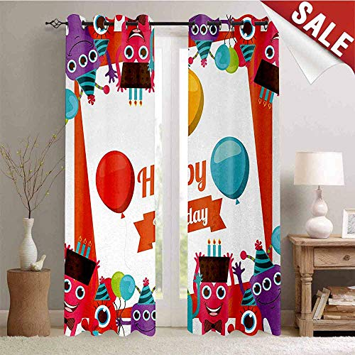 Birthday Decor Curtains by Funny Happy Monsters Holding Chocolate Cakes Party Horns Kids Celebration Design Room Darkening Wide Curtains W84 x L96 Inch Multicolor -