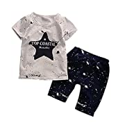 Weixinbuy Baby Boy 2 PCS Star Clothing Sets Top + Cropped Pants Outfits Set