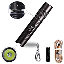 WUBEN E502 LED Flashlight,Rechargeable,Zoomable,Pocket-Sized LED Torch, Bright 150 Lumens CREE LED, IPX8 Water Resistant, 2 Modes High/Low/ for Indoors and Outdoors (Camping, Hiking, Cycling and Emergency Use)Black
