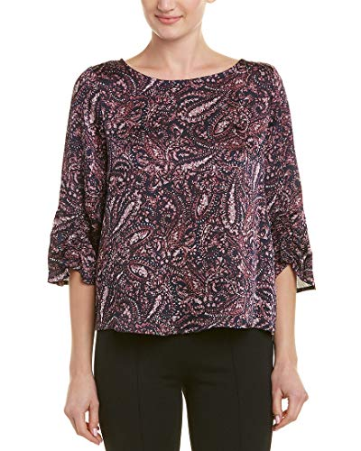 Vince Camuto Womens Gathered Sleeve Boat Neck Paisley Muses Blouse Classic Navy XL ()