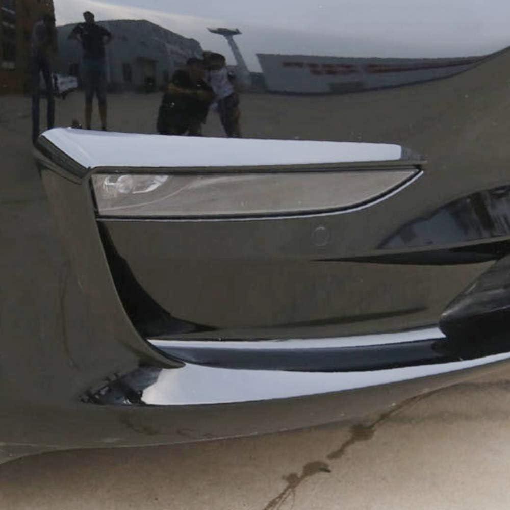 2Pcs Carbon Fiber Front Foglight Eyebrow Eyelids Cover Trim Fit for Tesla Model 3 Tickas Eyebrow Eyelids Cover
