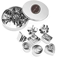 Cofe-BY Mini Cookie Cutter set – 24 Pieces Metal Fondant Cutters Stamp – 3