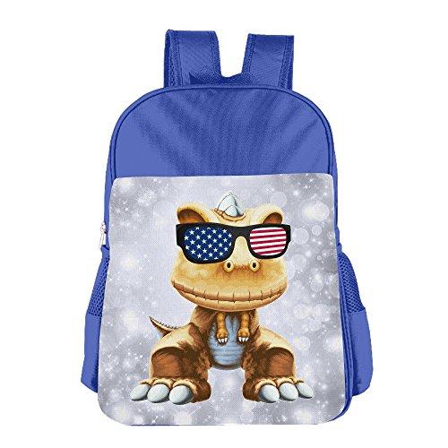Cool Dinosaur With Sunglasses USA Flag Girls Boys School Backpack Bag School Bags RoyalBlue For Teen