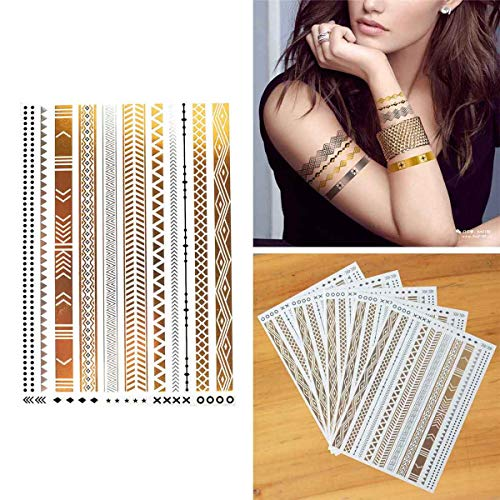 COKOHAPPY 5 Sheets Metallic Temporary Tattoo Gold Silver Shine Beach Armband