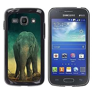 Caucho caso de Shell duro de la cubierta de accesorios de protección BY RAYDREAMMM - Samsung Galaxy Ace 3 GT-S7270 GT-S7275 GT-S7272 - Elephant Teal Trunk Vintage Cute Retro
