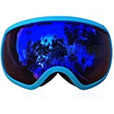 IceHacker Zionor2700 Eyewear Ski and Snowmobile Anti-fog Mirrored Goggle with Ergonomics Design and Helmet Compatible (Blue Frame)