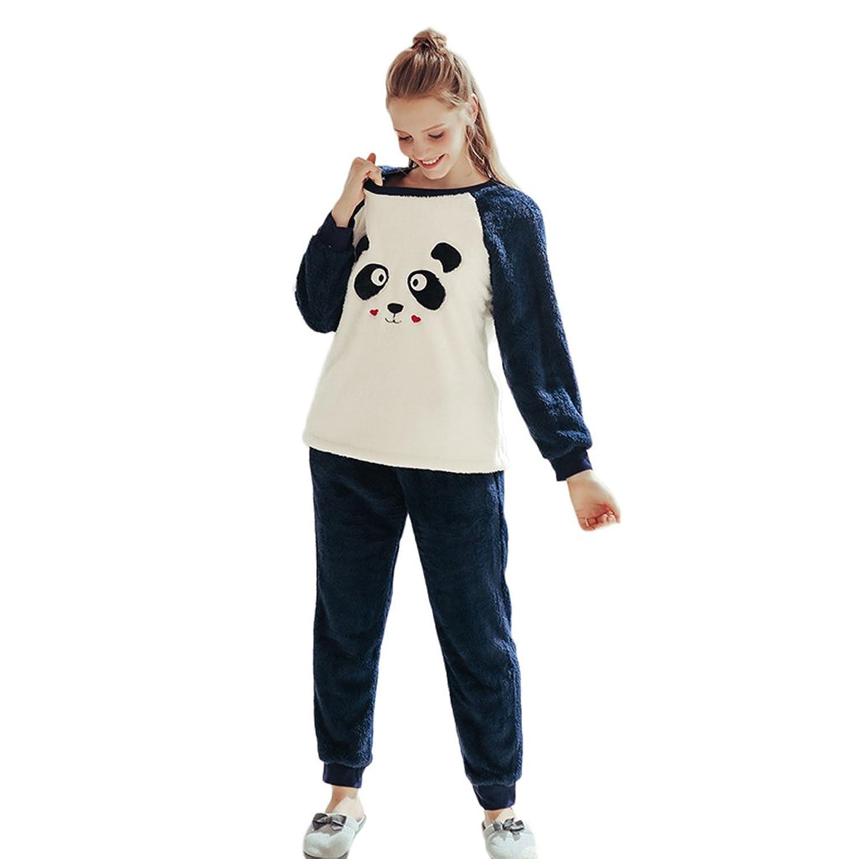 11cb3bff71a4ae 60%OFF Winter Damen Warm Pyjamas Süße Nette langärmelige Hosen Zwei Stücke  Set ...